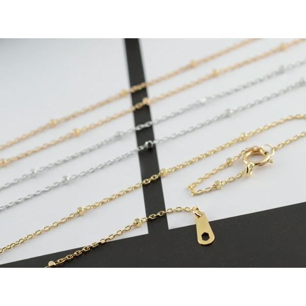 18金 ネックレスチェーン グリッター k18 ネックレス  40cm アズキ ホワイトゴールドk18 イエローゴールドk18 ピンクゴールドk18 母の日プレゼント