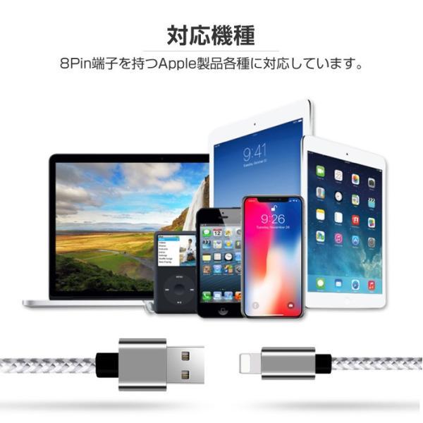 iPhone 互換 ケーブル 2m 1m 3m 急速充電 充電器 データ転送ケーブル USBケーブル メッシュ柄 充電ケーブル Micro USB Type-C|cincshop|10