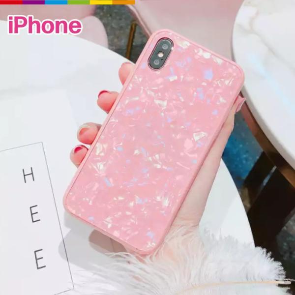 iPhone ケース iPhone8 iPhone7 plus iPhoneXR iPhoneXS Max 背面ガラス クリスタル シェル 風 レビューを書いて追跡なしメール便送料無料可|cincshop
