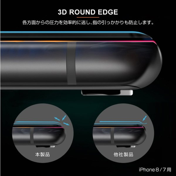 iPhone8 iPhoneXR iPhoneXS iPhone X 覗き見防止 全面保護 ガラスフィルム 3D ラウンドエッジ|cincshop|06