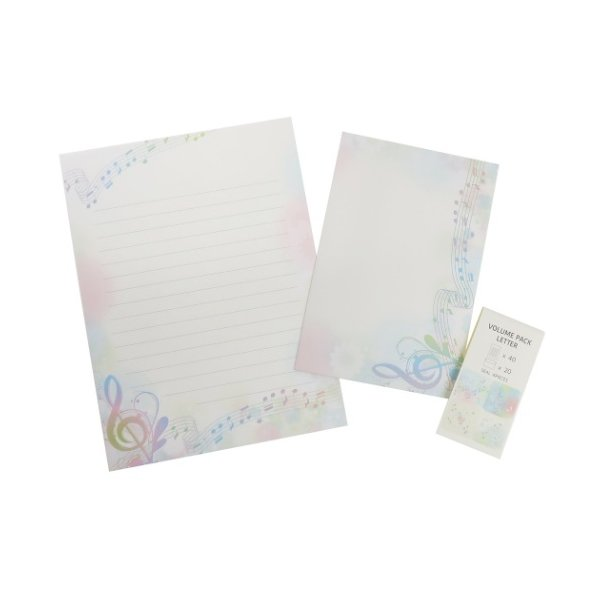手紙セット ボリュームパック レターセット  音符 便箋&封筒&シール かわいい