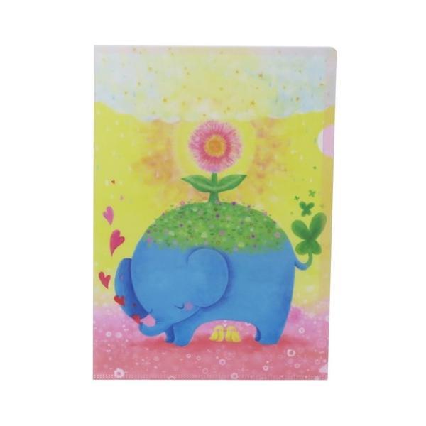 ファイル 吉田麻乃 A4 シングル クリアファイル クローズピン ゾウの草原 グッズ プチギフト 文具 ガーリーイラスト
