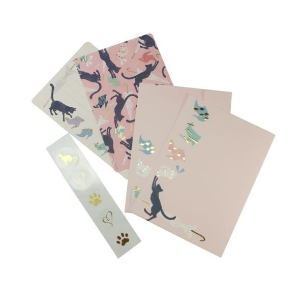 ミニ レターセット Tomoko Hayashi 手紙セット ねことアンブレラ クローズピン 便箋&封筒&シール