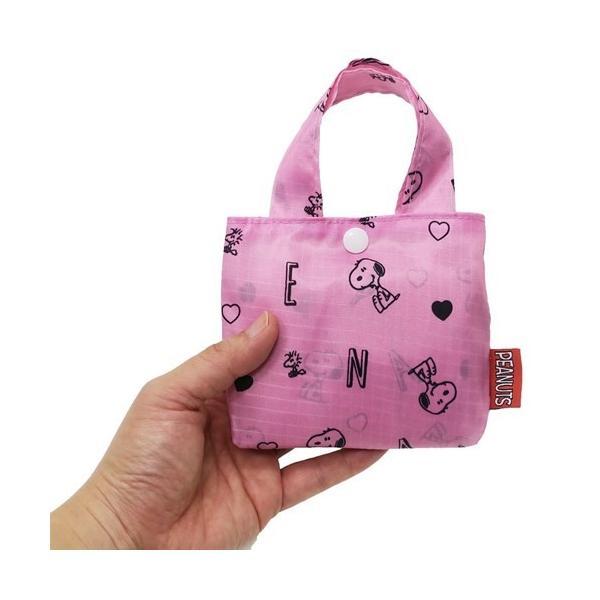 折りたたみショッピングバッグ スヌーピー エコバッグ ピーナッツ アルファベット ピンク クレスト 43×33×10cm お買い物かばん グッズ
