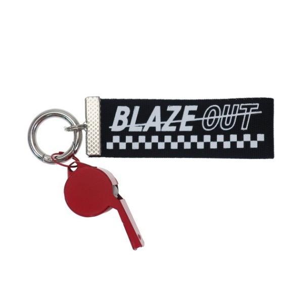 ホイッスル付き ロゴ テープ キーホルダー BLAZE OUT キーリング ブラック クラックス プチギフト
