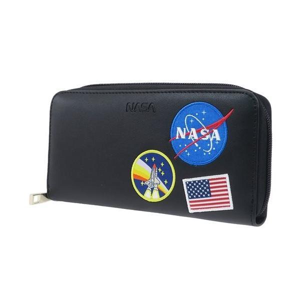 46955f5742ed 長財布 ラウンド ファスナー ロングウォレット ワッペン NASA クラックス 小学生 男の子向け 子供用 キャラクターの