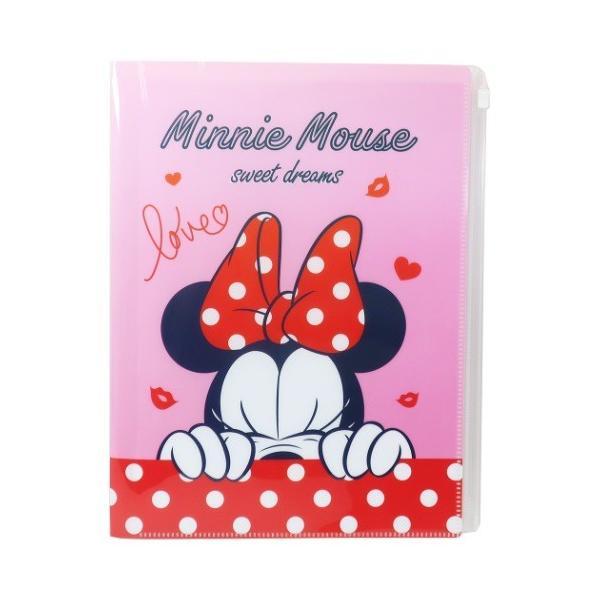 ミニーマウス グッズ ファイル ジップファスナー付 6ポケット A4 クリアファイル ディズニー キャラクター デルフィーノ