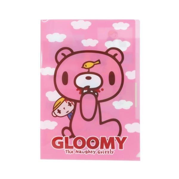 グルーミー キャラクター 3インデックス A4 クリアファイル ポケットファイル Aピンク 森チャック