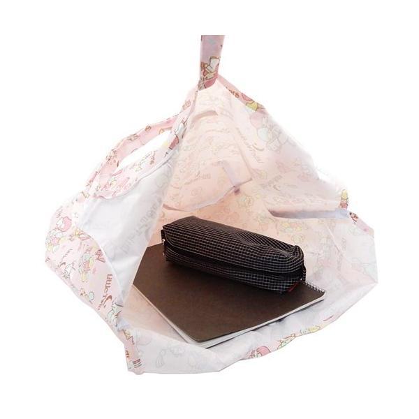 リトルツインスターズ キキ&ララ 折りたたみ ショッピングバッグ ピンク グッズ エコバッグ キャラクター サンリオ ケイカンパニー 収納 ミニバッグ付き