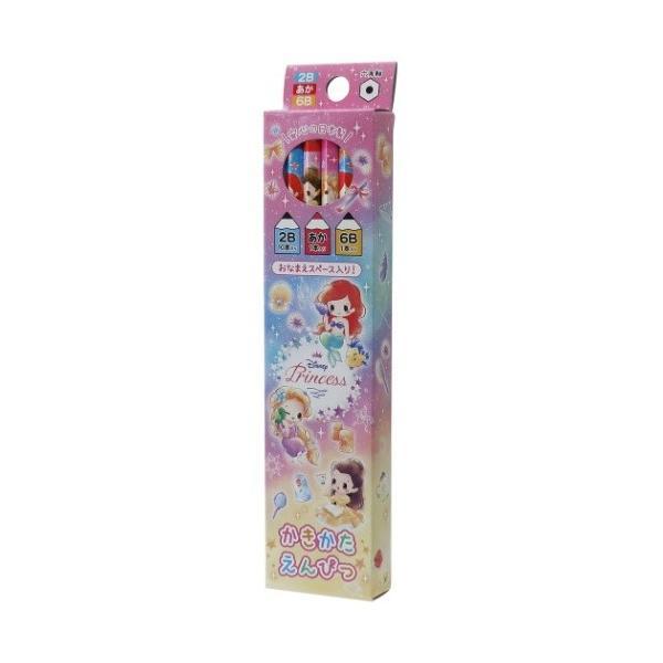 ディズニープリンセス グッズ ダース 鉛筆 12本セット かきかた えんぴつ 2B 10本 6B 赤鉛筆 ディズニー キャラクター