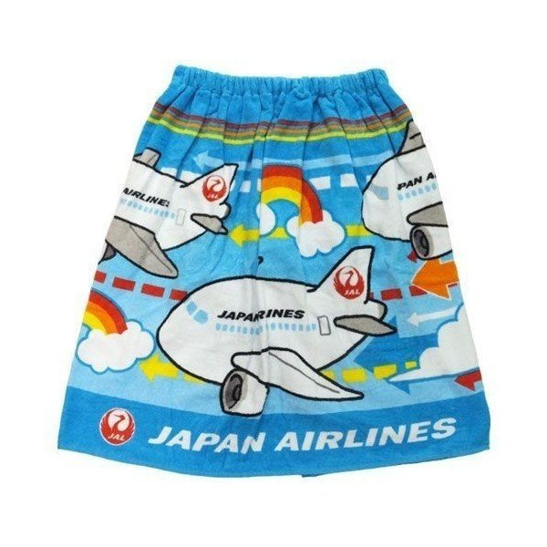 プールタオル JAL 日本航空 ラップタオル 60cm丈巻き巻きタオル エアウェイ 丸眞 キッズ 海・プール 着替え キャラクターグッズ