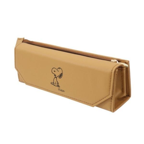 スヌーピー メガネも入る ペンポーチ meganemo 眼鏡ケース & ペンケース アメリカンテイスト7 ブラウン ピーナッツ サンスター文具 機能性筆箱
