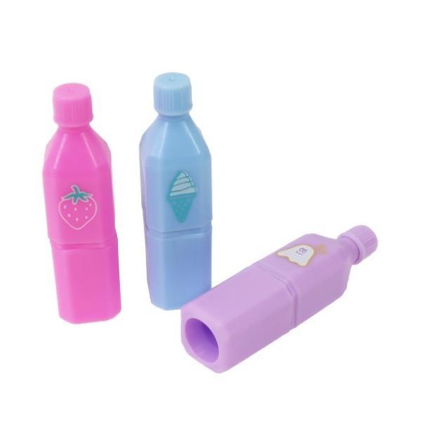 ラインマーカー グッズ Plust キュート ペットボトル マーカー 3色セット ピンク ブルー パープル おもしろ文具