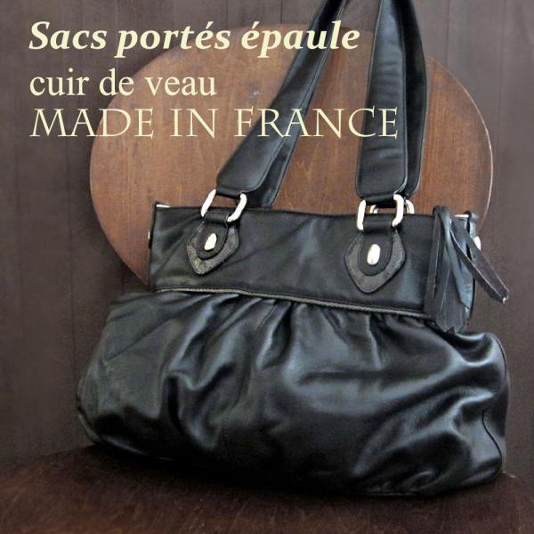レディースショルダーバッグ 上質な本革 フランス製カーフ革バッグ ギャザー入りショルダーバッグ ノアール ブラック