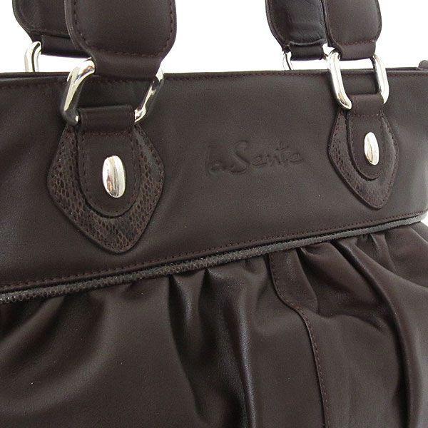 1b98091057ab ... レディースショルダーバッグ 上質な本革 フランス製カーフ革バッグ ギャザー入りショルダーバッグ ...