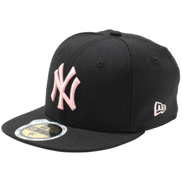 ニューエラ 5950キッズキャップ ピンク ロゴ ニューヨークヤンキース ブラック ピンク New Era 59FIFTY Kids Cap New York Yankees Pink Logo Black Pink|cio