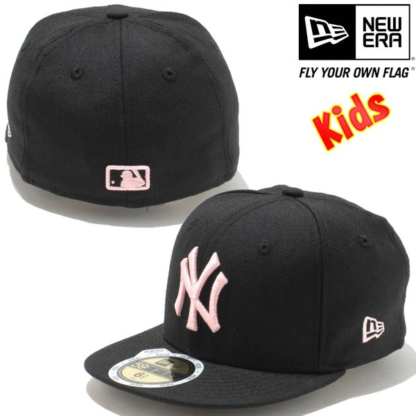 ニューエラ 5950キッズキャップ ピンク ロゴ ニューヨークヤンキース ブラック ピンク New Era 59FIFTY Kids Cap New York Yankees Pink Logo Black Pink|cio|02