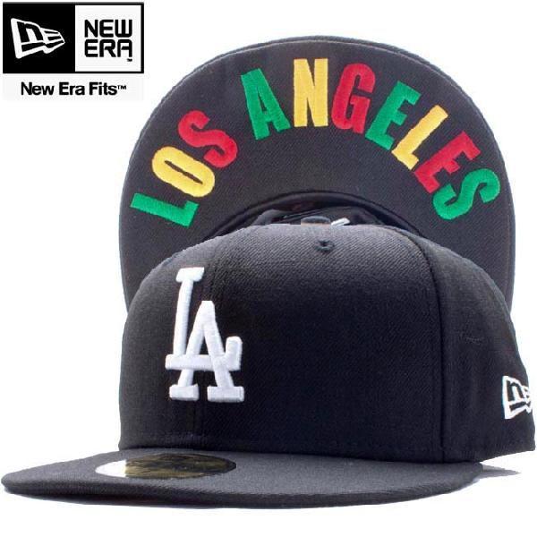 ニューエラ 5950キャップ アンダーバイザー ロサンゼルスドジャース ロサンゼルス ブラック ホワイト ラスタ New Era 59FIFTY Cap Under Visor LA Dodgers LA|cio