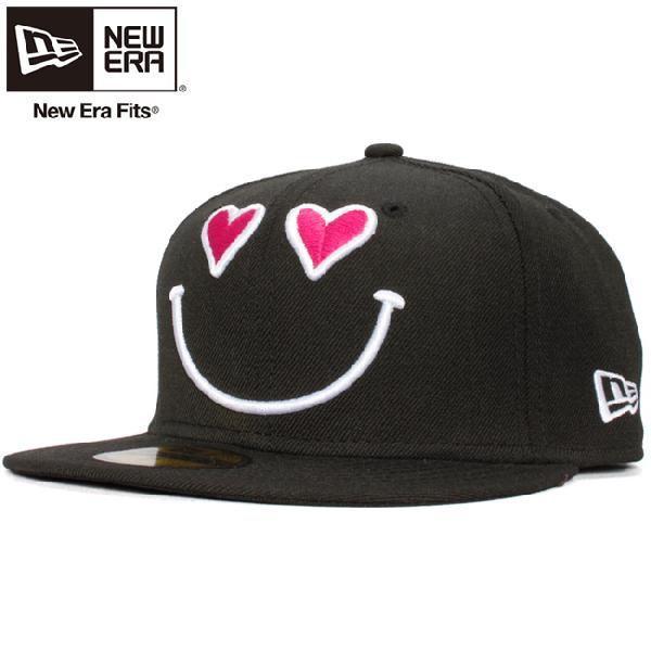 ニューエラ 5950キャップ スマイルコレクション ハート ブラック ホワイト ピンク New Era 59Fifty Cap Smile Collection Heart Black White Pink|cio