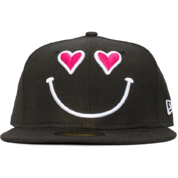 ニューエラ 5950キャップ スマイルコレクション ハート ブラック ホワイト ピンク New Era 59Fifty Cap Smile Collection Heart Black White Pink|cio|02