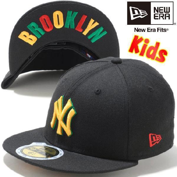 ニューエラ 5950キッズキャップ ニューヨークヤンキース ブラック マニラ ラスタ New Era 59Fifty Kids Cap New York Yankees Black Manila Rasta|cio