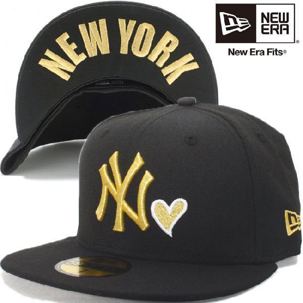 ニューエラ 5950キャップ ハートロゴコレクション ニューヨークヤンキース ブラック ゴールド New Era 59FIFTY Cap Heart Logo New York Yankees Black Gold|cio