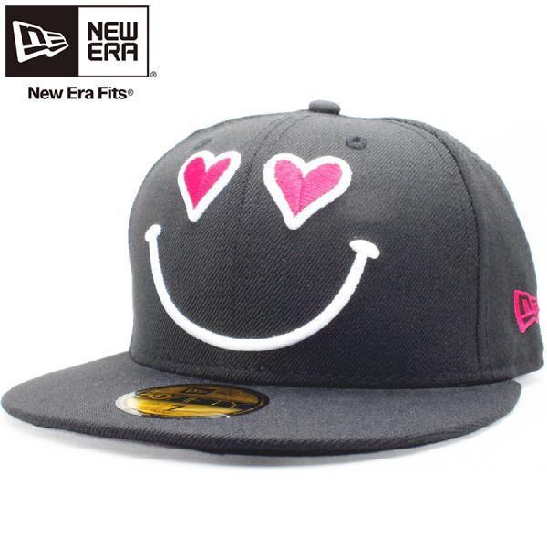 ニューエラ 5950キャップ ロゴバリエーションズ スマイルハート ワンラブ ブラック ストロベリー New Era 59Fifty Cap Logo Variations Smile Heart One Love|cio