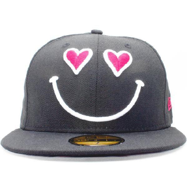 ニューエラ 5950キャップ ロゴバリエーションズ スマイルハート ワンラブ ブラック ストロベリー New Era 59Fifty Cap Logo Variations Smile Heart One Love|cio|02