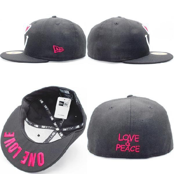 ニューエラ 5950キャップ ロゴバリエーションズ スマイルハート ワンラブ ブラック ストロベリー New Era 59Fifty Cap Logo Variations Smile Heart One Love|cio|03