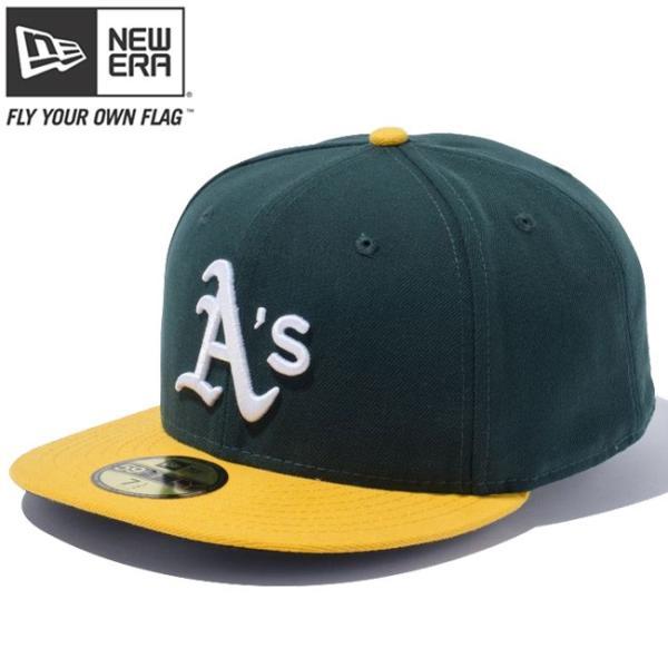 ニューエラ 5950キャップ オーセンティック オークランドアスレチックス ダークグリーン ゴールド ホワイト New Era 59Fifty Cap Oakland Athletics Dark Green|cio