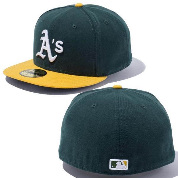 ニューエラ 5950キャップ オーセンティック オークランドアスレチックス ダークグリーン ゴールド ホワイト New Era 59Fifty Cap Oakland Athletics Dark Green|cio|03
