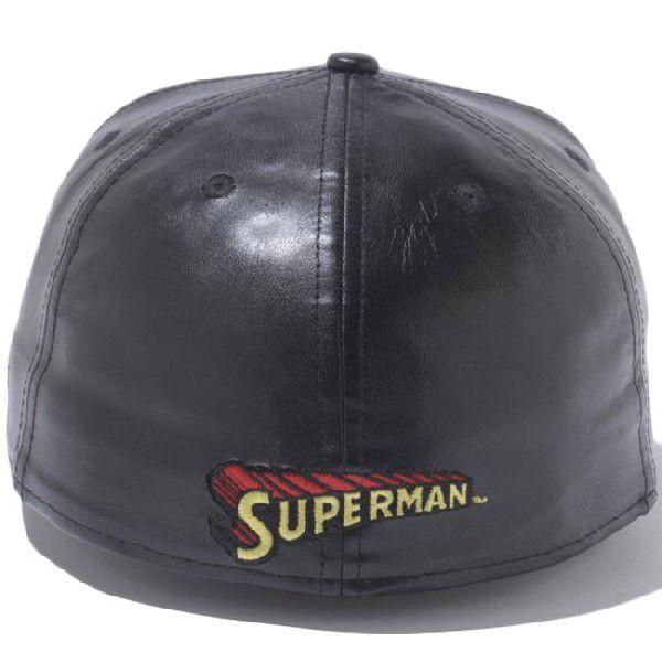 スーパーマン×ニューエラ 5950キャップ スーパーマンロゴ ブラックレザー ブラック レッド SUPERMAN×New Era 59FIFTY Cap Superman Logo Black Leather Black|cio|02
