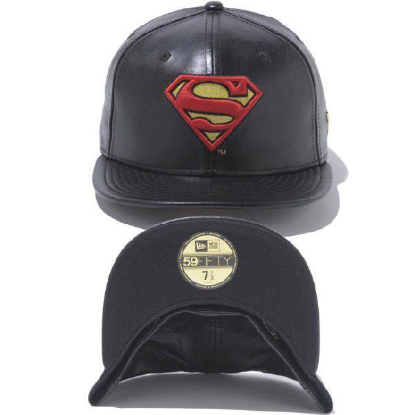 スーパーマン×ニューエラ 5950キャップ スーパーマンロゴ ブラックレザー ブラック レッド SUPERMAN×New Era 59FIFTY Cap Superman Logo Black Leather Black|cio|03