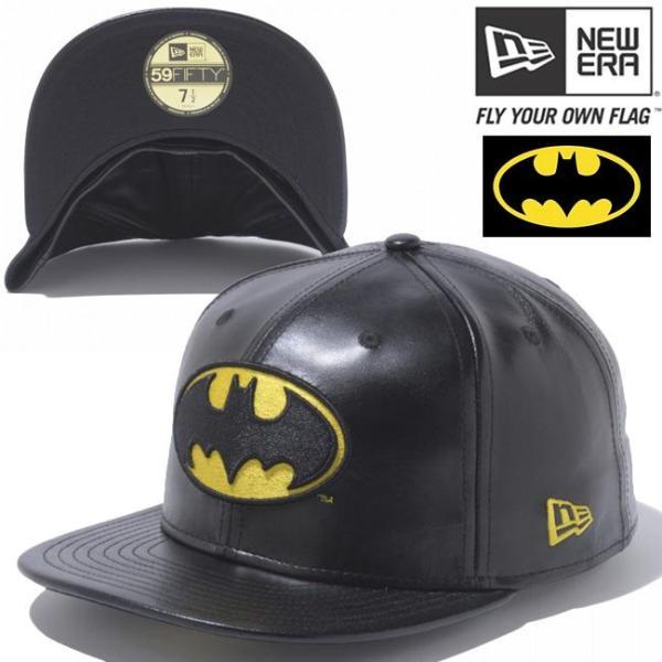 バットマン×ニューエラ 5950キャップ バットマンロゴ ブラックレザー ブラック ゴールド BATMAN×New Era 59FIFTY Cap Batman Logo Black Leather Black cio
