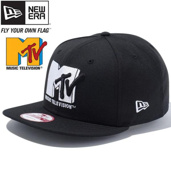 エムティーヴィー×ニューエラ 950スナップバック キャップ ホワイトロゴ ブラック ホワイト Mtv×New Era 9Fifty Snapback Cap White Logo Black White|cio