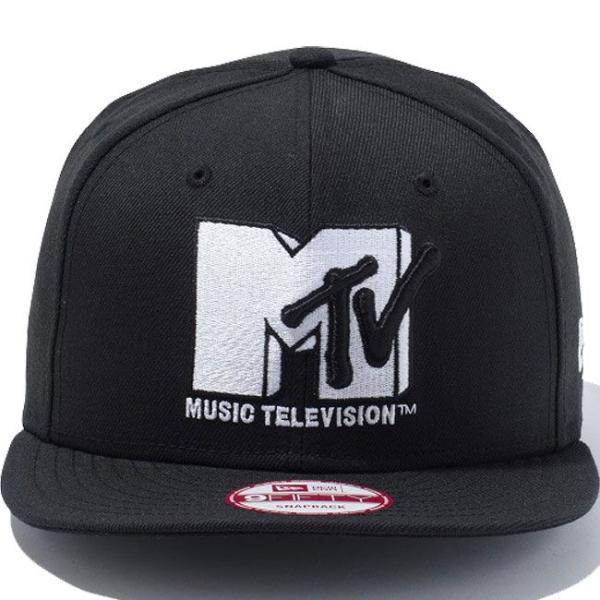 エムティーヴィー×ニューエラ 950スナップバック キャップ ホワイトロゴ ブラック ホワイト Mtv×New Era 9Fifty Snapback Cap White Logo Black White|cio|02
