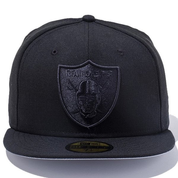 ニューエラ 5950キャップ ブラックロゴ NFLカスタム オークランド レイダース ブラック New Era 59Fifty Cap Black Logo NFL Custom Oakland Raiders Black|cio|02