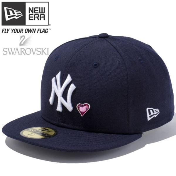 スワロフスキー(R)エレメンツ×ニューエラ 5950キャップ ホワイトロゴ ハート ヤンキース ネイビー Swarovski×New Era 59Fifty White Logo Heart Yankees Navy|cio