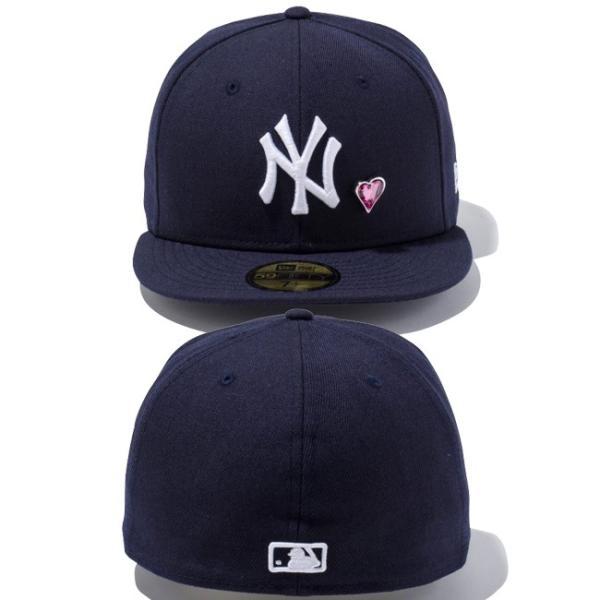 スワロフスキー(R)エレメンツ×ニューエラ 5950キャップ ホワイトロゴ ハート ヤンキース ネイビー Swarovski×New Era 59Fifty White Logo Heart Yankees Navy|cio|03