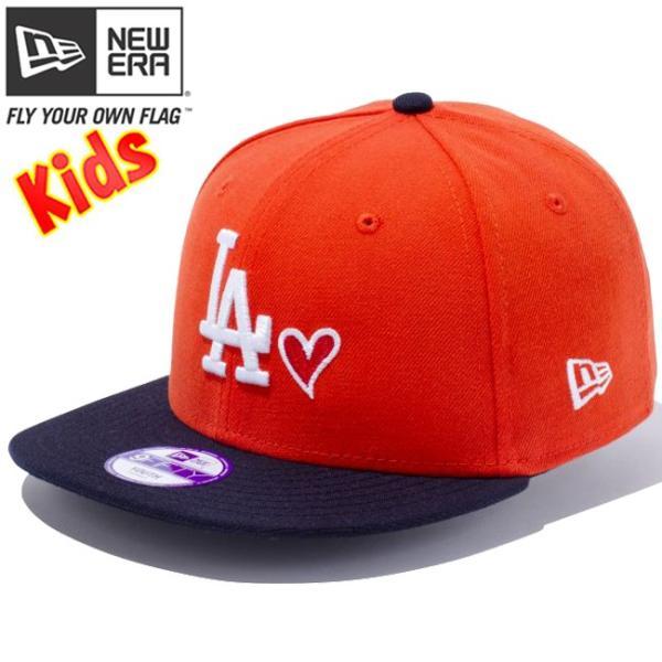 ニューエラ 950 スナップバック キッズ キャップ ハートロゴコレクション ロサンゼルスドジャース オレンジ ネイビー New Era 9Fifty Snap Back Kids Cap|cio