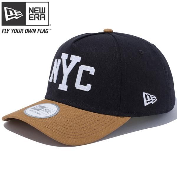 ニューエラ 940 エーフレームトラッカー ダックキャンバス ニューヨークシティ ブラック タン ホワイト New Era 9Forty A-Frame Trucker Duck Canvas New York cio