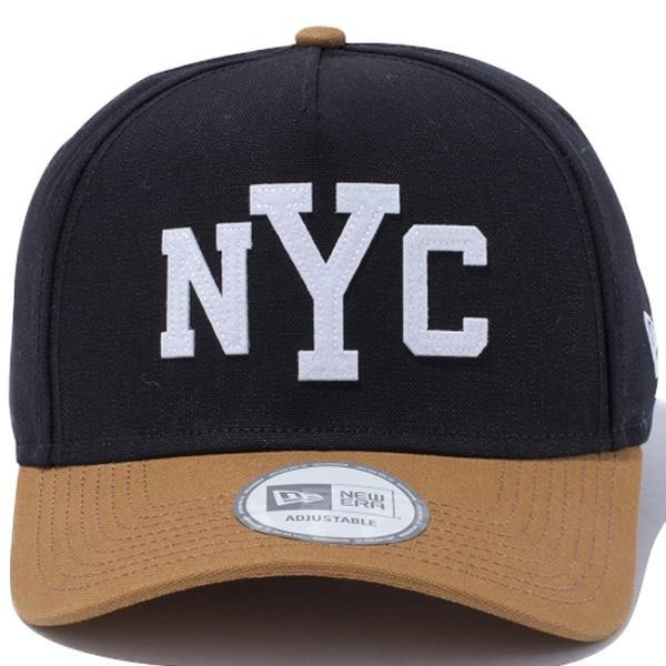 ニューエラ 940 エーフレームトラッカー ダックキャンバス ニューヨークシティ ブラック タン ホワイト New Era 9Forty A-Frame Trucker Duck Canvas New York cio 02