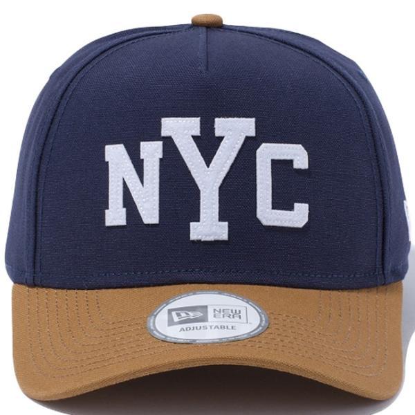 ニューエラ 940 エーフレームトラッカー ダックキャンバス ニューヨークシティ ネイビー ホワイト New Era 9Forty A-Frame Trucker Duck Canvas New York Navy|cio|02