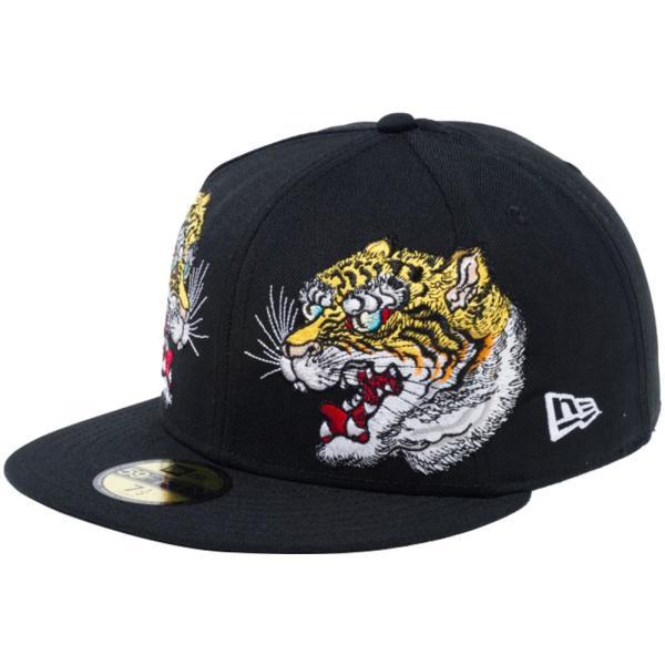 石川真澄×ニューエラ 5950キャップ オールオーバー 虎 ブラック オフィシャルカラー スノーホワイト Masumi Ishikawa×New Era 59FIFTY Cap All Over Tiger|cio