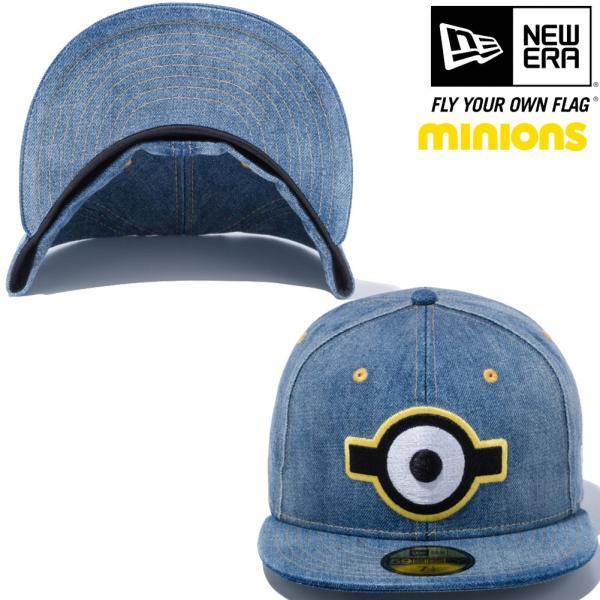 ミニオンズ×ニューエラ 5950キャップ マルチロゴ 一つ目 ウォッシュドデニム スノーホワイト Despicable Me Minion×New Era 59FIFTY Cap Multi Logo Eye|cio|02
