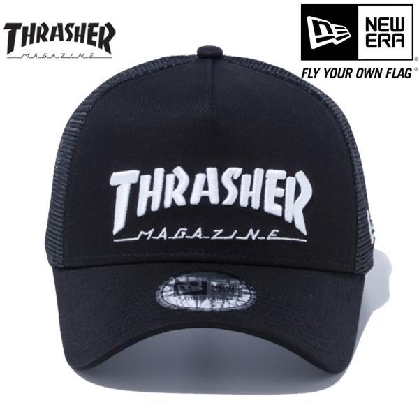 スラッシャー×ニューエラ 940 スナップバック キャップ エーフレームトラッカー ブラック ブラックメッシュ ホワイト Thrasher×New Era 9FORTY Snap Back Cap|cio|02