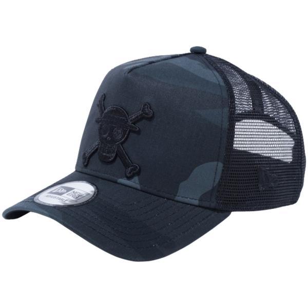 ワンピース×ニューエラ 940 スナップバック キャップ エーフレームトラッカー モンキー・D・ルフィ ミッドナイトカモ ブラック ONE PIECE×New Era 9FORTY Cap|cio