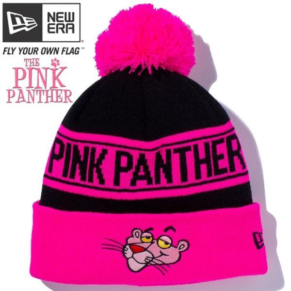 ピンクパンサー×ニューエラ ニットキャップ ポンポンニット フェイス ブラック 蛍光ピンク ブラック Pink Panther×New Era Knit Cap Pom-Pon Knit Face|cio