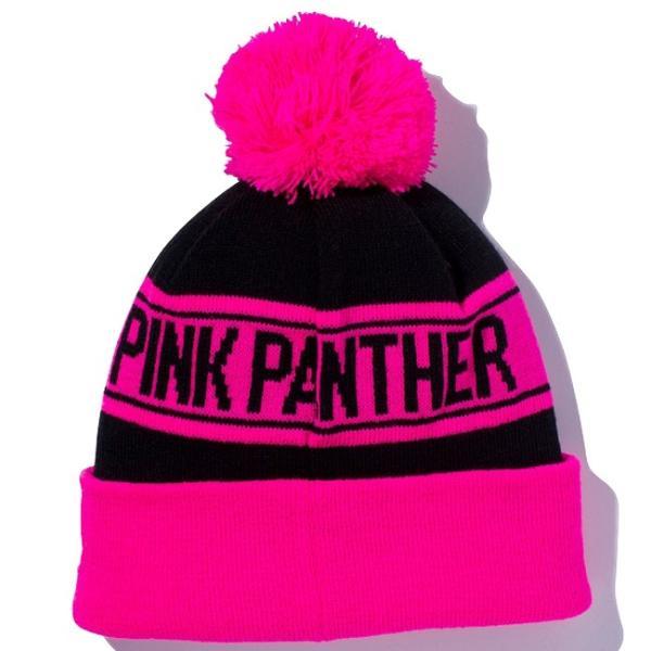 ピンクパンサー×ニューエラ ニットキャップ ポンポンニット フェイス ブラック 蛍光ピンク ブラック Pink Panther×New Era Knit Cap Pom-Pon Knit Face|cio|02