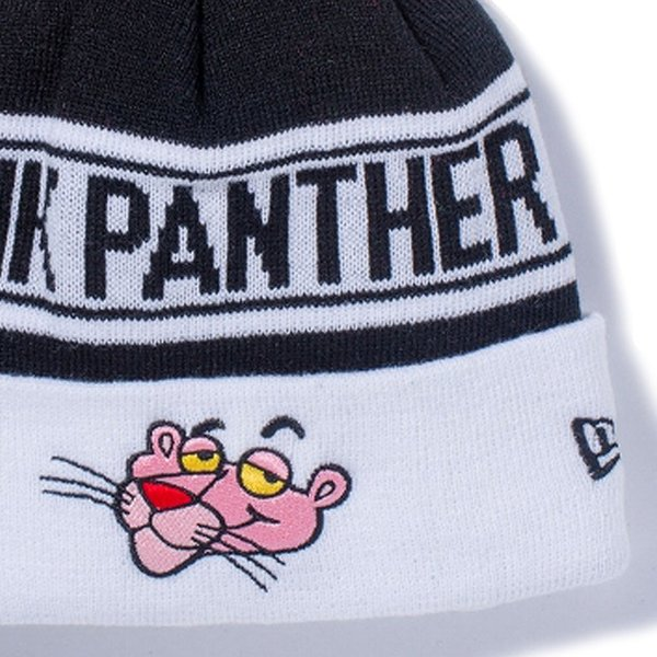 ピンクパンサー×ニューエラ ニットキャップ ポンポンニット フェイス ブラック ホワイト Pink Panther×New Era Knit Cap Pom-Pon Knit Face Black|cio|03
